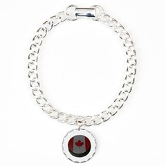 Canadian Hockey Puck Bracelet with Round Charm
