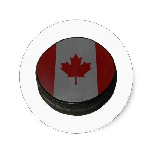 Canadian Hockey Puck Classic Round Sticker