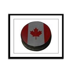 Canadian Hockey Puck Framed Panel Print