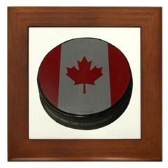 Canadian Hockey Puck Framed Tile