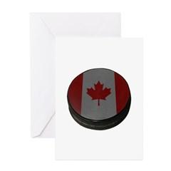 Canadian Hockey Puck Greeting Card
