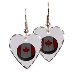 Canadian Hockey Puck Heart Earrings