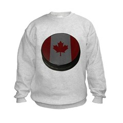 Canadian Hockey Puck Kids Crewneck Sweatshirt by Hanes