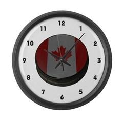 Canadian Hockey Puck Large Wall Clock
