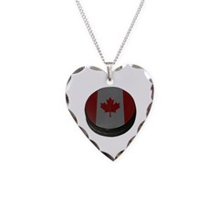 Canadian Hockey Puck Necklace with Heart Pendant