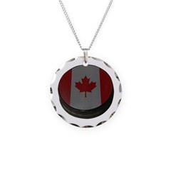 Canadian Hockey Puck Necklace with Round Pendant
