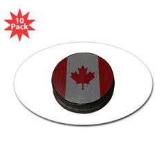 Canadian Hockey Puck Oval Decal 10 Pack