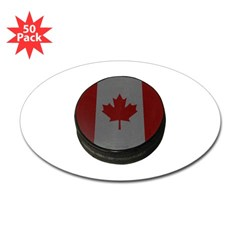 Canadian Hockey Puck Oval Decal 50 Pack