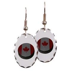 Canadian Hockey Puck Oval Earrings