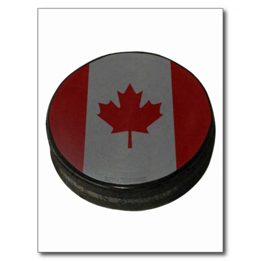 Canadian Hockey Puck Postcard