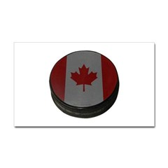 Canadian Hockey Puck Rectangle Decal