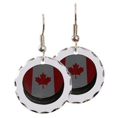 Canadian Hockey Puck Round Earrings