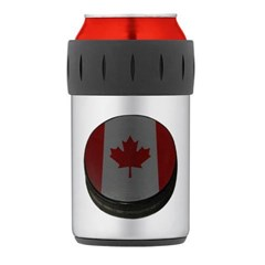 Canadian Hockey Puck Thermos Can Cooler