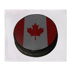 Canadian Hockey Puck Throw Blanket