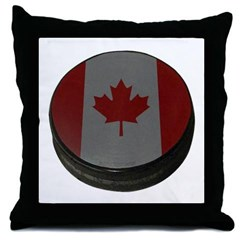 Canadian Hockey Puck Throw Pillow