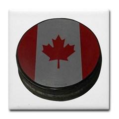 Canadian Hockey Puck Tile Coaster