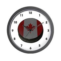 Canadian Hockey Puck Wall Clock