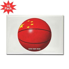 China Basketball Rectangle Magnet (10 pack)