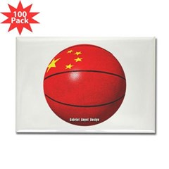 China Basketball Rectangle Magnet (100 pack)