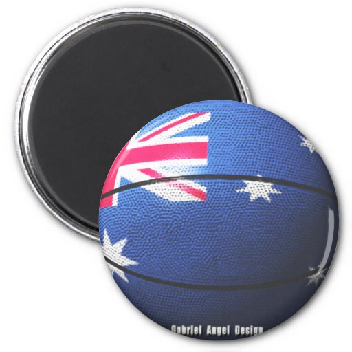 Australia Basketball 2 Inch Round Magnet