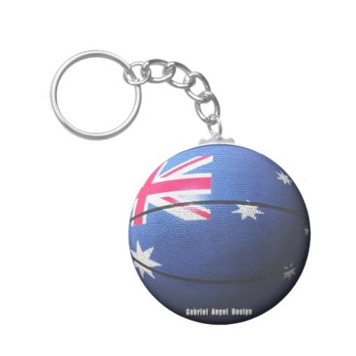 Australian Basketball Basic Button Keychain