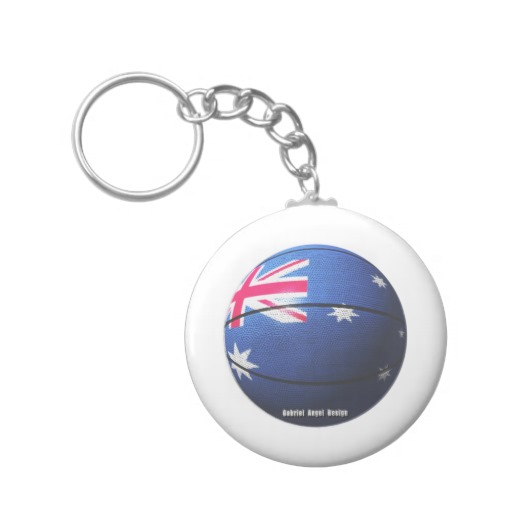 Australian Basketball Basic Button Keychain