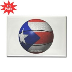 Puerto Rican Basketball Rectangle Magnet (10 pack)