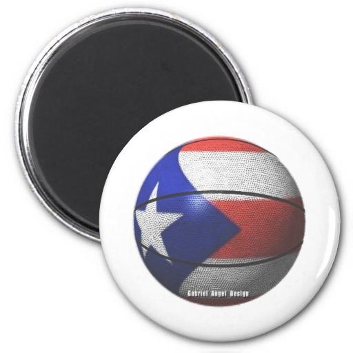 Puerto Rico Basketball 2 Inch Round Magnet
