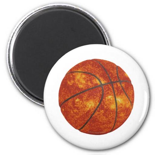 Basketball Sun 2 Inch Round Magnet