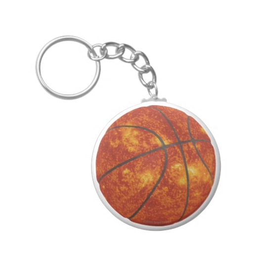 Basketball Sun Basic Button Keychain