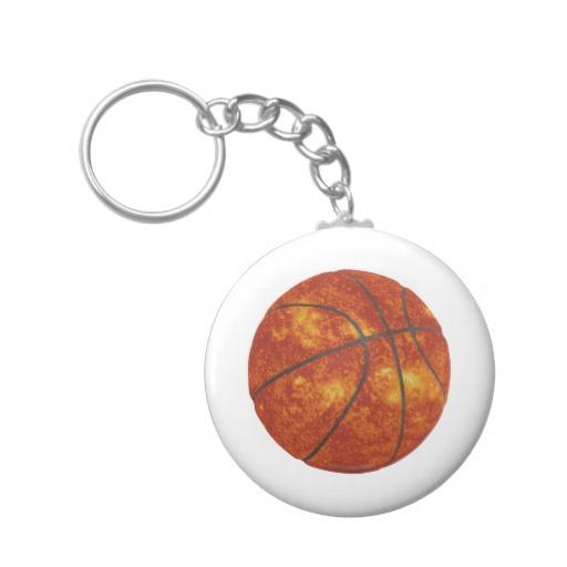 Basketball Sun Basic Button Keychain
