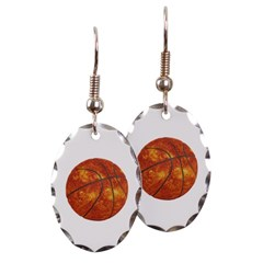 Basketball Sun Oval Earrings