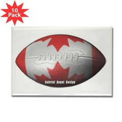 Canadian Football Rectangle Magnet (10 pack)