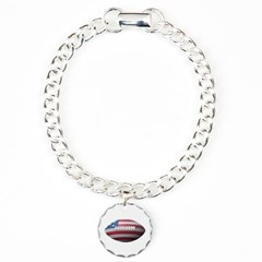 American Football Bracelet with Round Charm