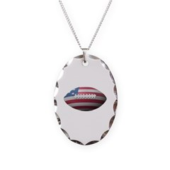 American Football Necklace with Oval Pendant