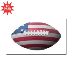 American Football Rectangle Decal 10 Pack