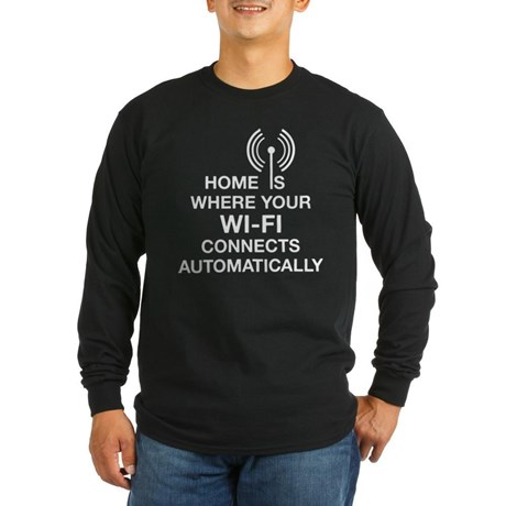 Home Wi-fi Tech Humor Long Sleeve Dark T-Shirt