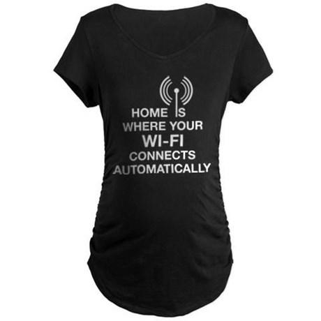 Home Wi-fi Tech Humor Maternity Dark T-Shirt