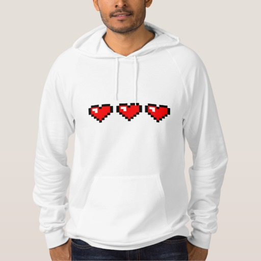 3 Red Pixel Hearts American Apparel California Fleece Pullover Hoodie