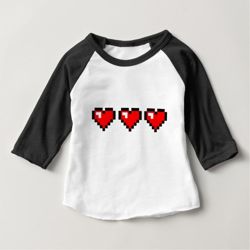 3 Red Pixel Hearts Baby American Apparel 3/4 Sleeve Raglan T-Shirt