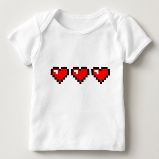 3 Red Pixel Hearts Baby American Apparel Lap T-Shirt