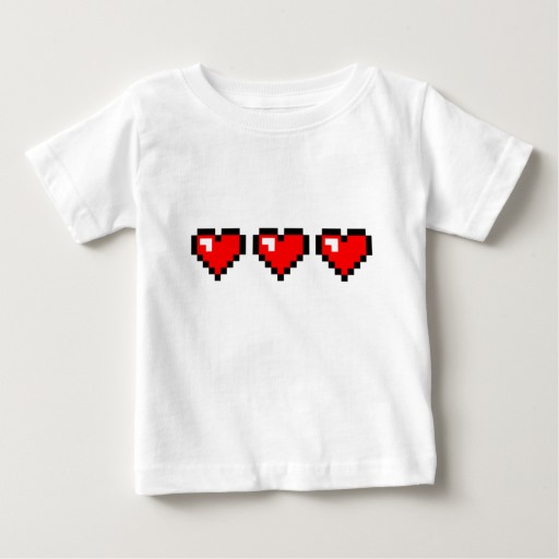 3 Red Pixel Hearts Baby Fine Jersey T-Shirt