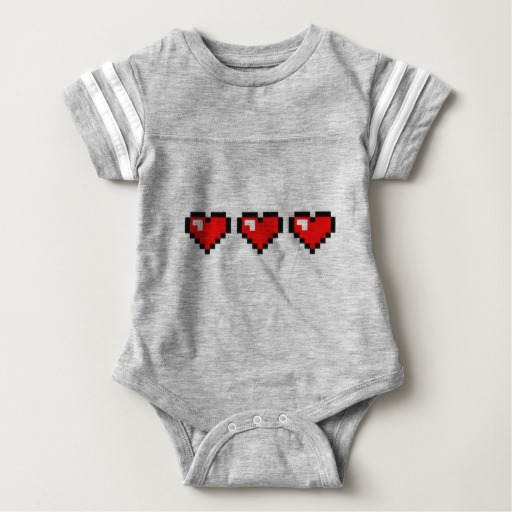 3 Red Pixel Hearts Baby Football Bodysuit