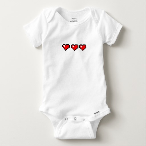 3 Red Pixel Hearts Baby Gerber Cotton Onesie
