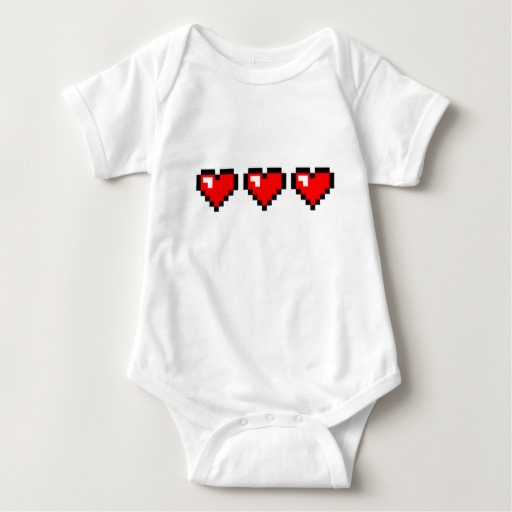 3 Red Pixel Hearts Baby Jersey Bodysuit