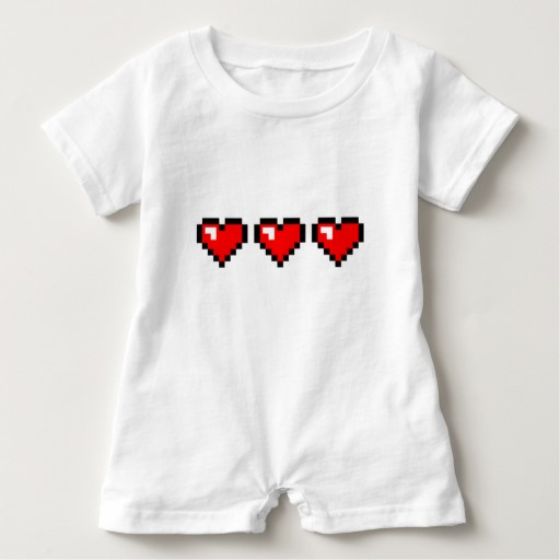 3 Red Pixel Hearts Baby Romper