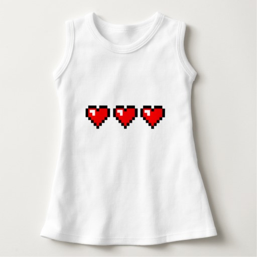 3 Red Pixel Hearts Baby Sleeveless Dress