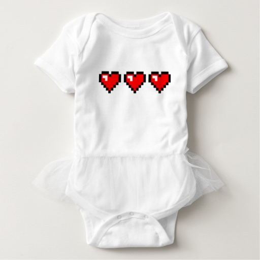 3 Red Pixel Hearts Baby Tutu Bodysuit