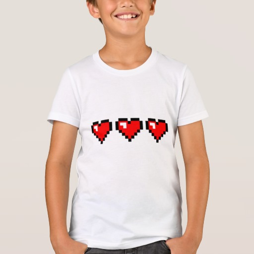 3 Red Pixel Hearts Kids' Bella+Canvas Crew T-Shirt
