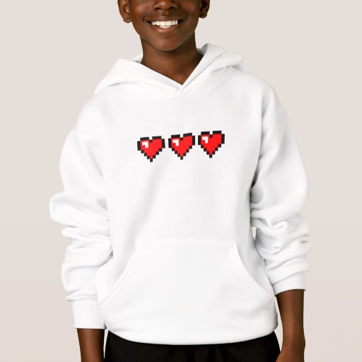 3 Red Pixel Hearts Kids' Hanes ComfortBlend® Hoodie